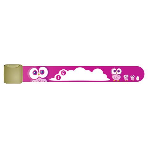 Pericoli domestici - Infoband - bracciale identificativo Gufi - rosa [INF0007 cuori] by Ekko