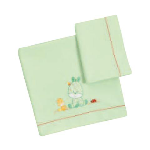 Coperte, lenzuolini e paracolpi - Set lenzuolini ricamato per culla/carrozzina - Terry 060 verde by Somma