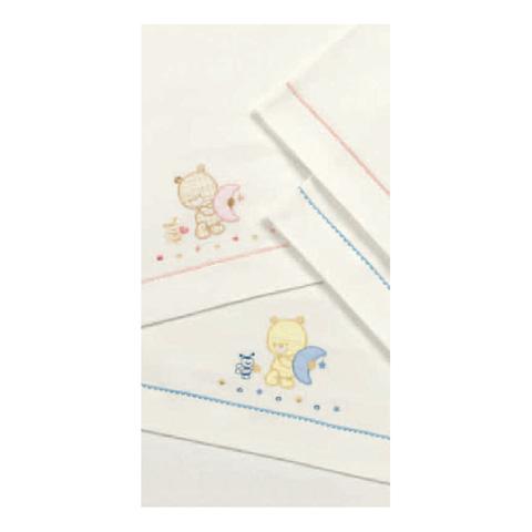 Coperte, lenzuolini e paracolpi - Set lenzuolini ricamato per culla/carrozzina - Adele 030 Rosa by Somma