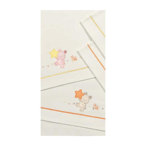 Coperte, lenzuolini e paracolpi - Set lenzuolini ricamato per culla/carrozzina - Jean 030 Rosa by Somma