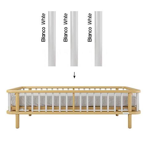Accessori per la cameretta - Kit trasformazione per lettivo evolutivo Life Struttura Naturale - stecche Bianco by Micuna