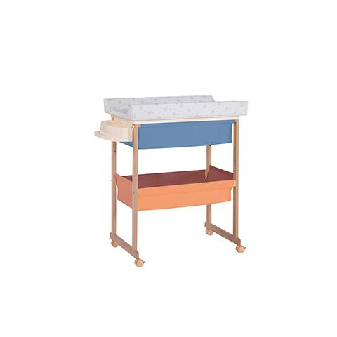 Bagnetti fasciatoio - Bagnetto Plus con cesta di tessili - linea Basic Naturale-multicolor riv. beige by Micuna