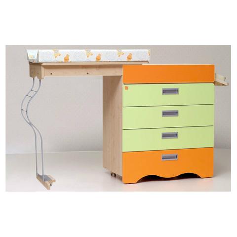 Cassettiere fasciatoio - Cassettiera fasciatoio Bagnetto Tenero Matic con sistema antiribaltamento cassetti verde-arancio by NCR arredo baby