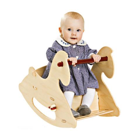 Giocattoli 6+ mesi - Cavallo a dondolo in legno Naturale by Moover