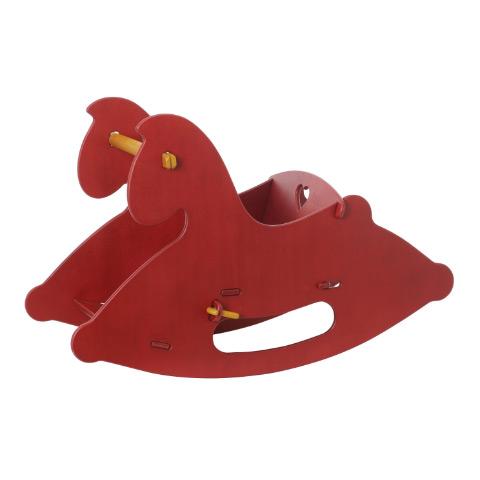 Giocattoli 6+ mesi - Cavallo a dondolo in legno Rosso by Moover