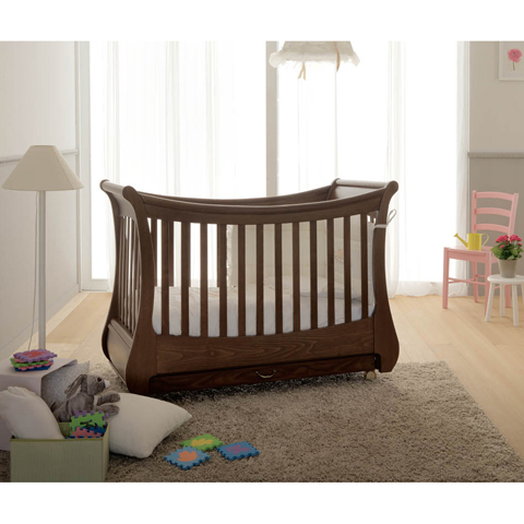 babybett kinderbett aus holz tulip noce pali kinderzimmer ebay. Black Bedroom Furniture Sets. Home Design Ideas