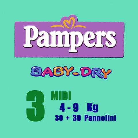 Il cambio (pannolini, etc.) - Pannolini Pannolini Baby Dry - Midi [4-9 Kg.] - pacco doppio Midi [4-9 Kg.] - 60 pezzi by Pampers