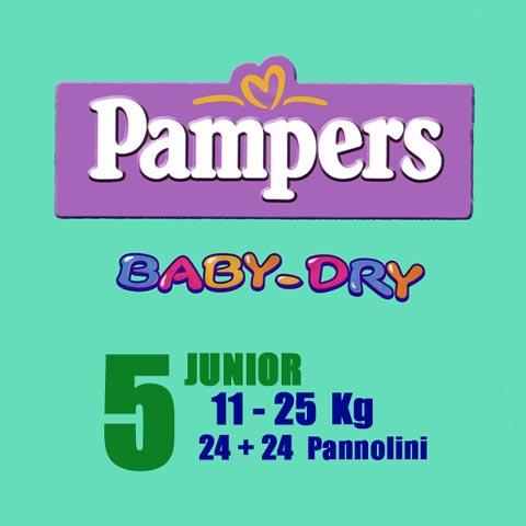 Il cambio (pannolini, etc.) - Pannolini Pannolini Baby Dry - Junior [11-25 Kg.] - pacco doppio Junior [11-25 Kg.] - 46 pannolini by Pampers