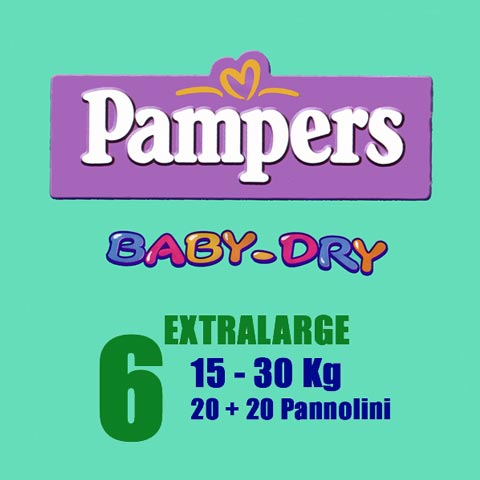 Il cambio (pannolini, etc.) - Pannolini Pannolini Baby Dry - XL [15-30 Kg.] - pacco doppio XL [15-30 Kg.] - 38 pannolini by Pampers