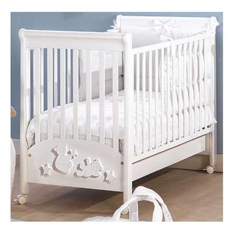 Lettino letto in legno con decori picci diamante bianco ebay for Decori per camerette neonati