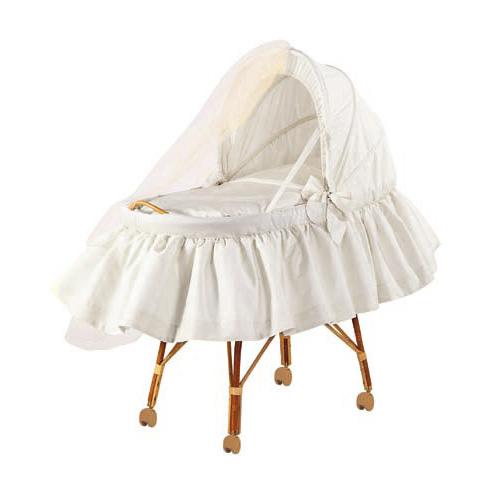 Culle complete - Colorelle - Culla con cappotta in piquet e zanzariera Bianco 02 ruote piccole [3340P+4598P] by Picci