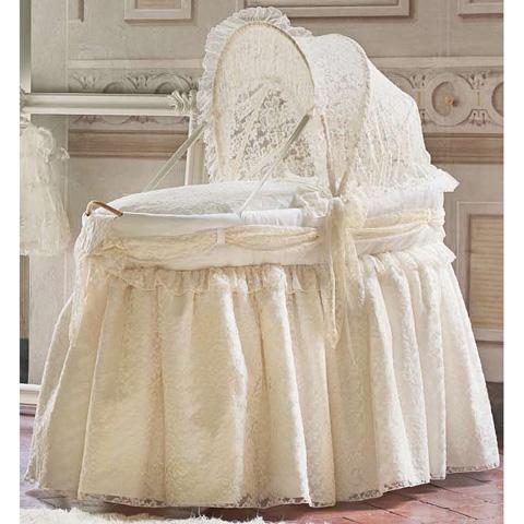 Culle complete - Alina - Culla ovale lunga c/cappotta in tessuto pizzo Var. 09 [41P.85+02.00+47P.85] by Picci