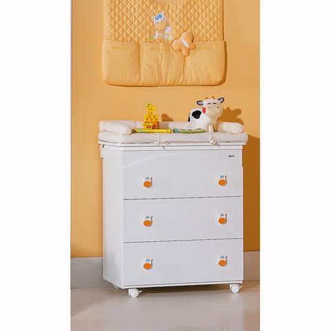 Cassettiere fasciatoio - Lola - Cassettiera fasciatoio a 3 cassetti, con decoro Bianco-Multicolore  [89.71+MAT.34+20PU00] by Picci
