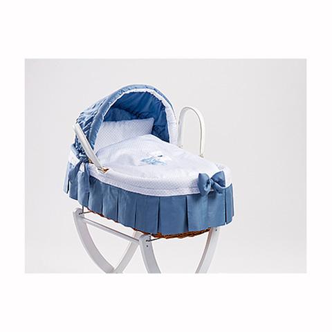 Culle complete - Coco - Cesta portabebe in giunco con capote + carrello Azzurro + carrello bianco by Picci