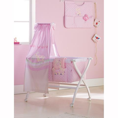 Culle complete - Lola - Culla ad incrocio con velo e piumetto ricamato Bianco-Rosa [35X.34+CXB+47.34] by Picci