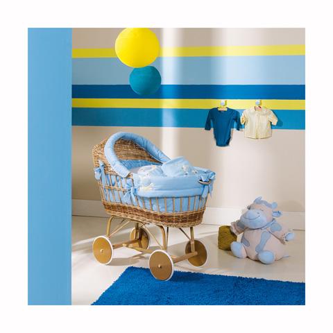 Culle complete - Lola - Culla ovetto con zanzariera e piumetto Naturale-azzurro [135.34+47.34] by Picci