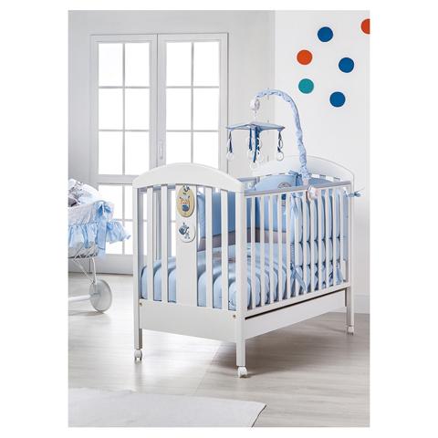 Lettini - Pep� - Letto in legno con decori e cassetto (stecca piccola) Bianco-azzurro [84.34+MAT.35] by Picci