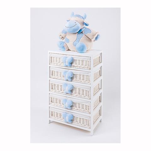 Abbigliamento e idee regalo - [880.34] Lola - Mobile a 5 cassetti Bianco-Azzurro by Picci
