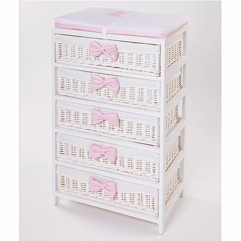 Abbigliamento e idee regalo - [880.61] Coco - Mobile a 5 cassetti Bianco-Rosa by Picci