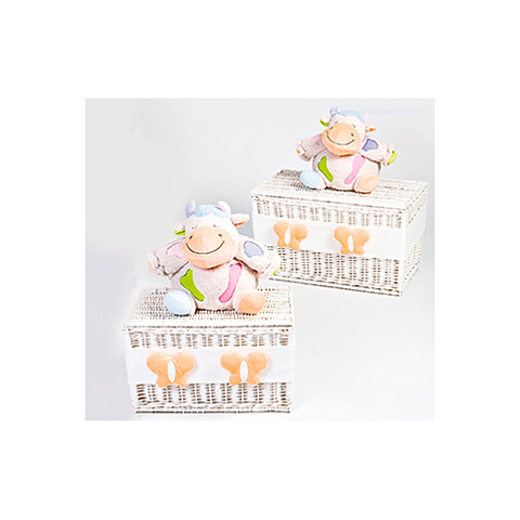 Altri moduli per arredo - [860.34] Lola - Set 2 bauli portagiochi [2 grandezze] Bianco-arancio by Picci