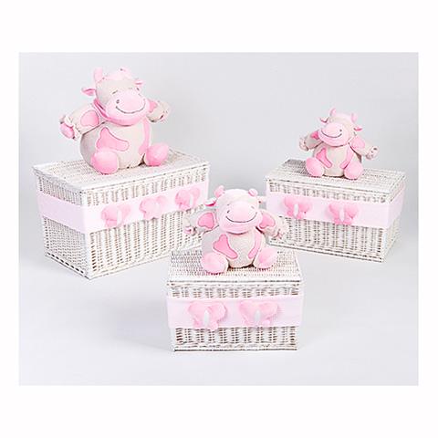 Altri moduli per arredo - [860.34] Lola - Set 3 bauli portagiochi [3 grandezze] Bianco-rosa by Picci