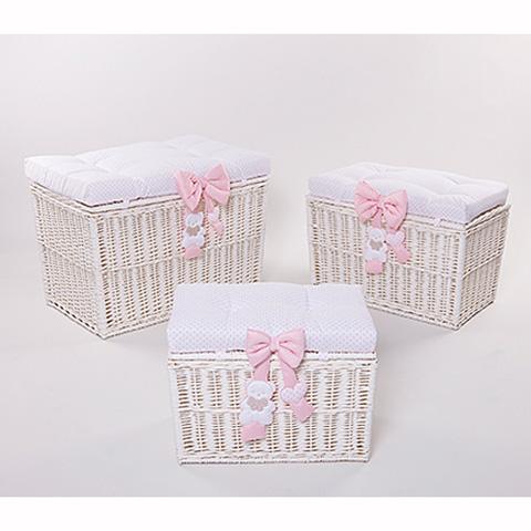 Altri moduli per arredo - [860.61] Coco - Set 3 bauli portagiochi [3 grandezze] Bianco-rosa by Picci