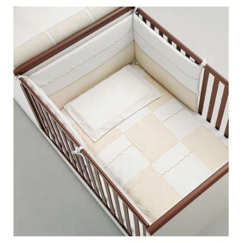Coperte, lenzuolini e paracolpi - Completo 3 pz. lenz. fuori misura per lettino Maggiolino bianco-beige by MIBB