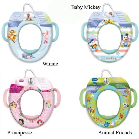 Riduttori e vasini - Riduttore WC morbido con maniglie Baby Mickey fant.righe - STO05871 by Ekko