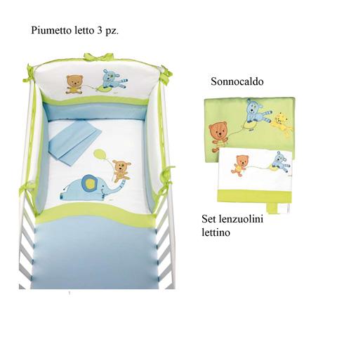 Coordinati tessili - Set Du Du: Piumone + Sonnocaldo + Lenzuolini Lettino variante 6 - verde by Picci