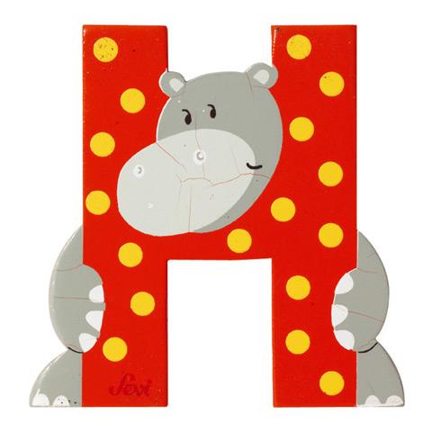 Accessori per la cameretta - Lettera H - alfabeto Animali H - hippo [81608] by Sevi