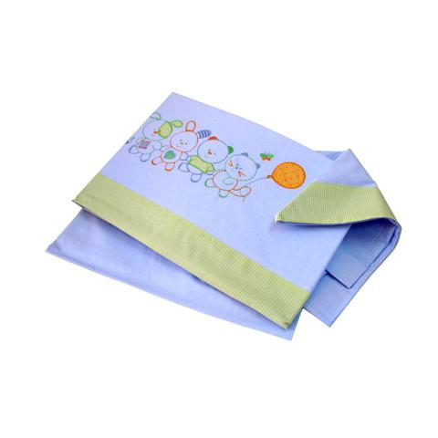 Coperte, lenzuolini e paracolpi - Completo 3 pz. lenz. carrozzina ricamato - Little Puppies 040 azzurro  [80455] by Somma