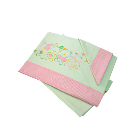 Coperte, lenzuolini e paracolpi - Completo 3 pz. lenz. lettino ricamato - Little Puppies 060 verde  [80455] by Somma