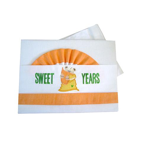 Coperte, lenzuolini e paracolpi - Completo 3 pz. lenz. carrozzina ricamato - Sweet 22.37 by Sweet Years