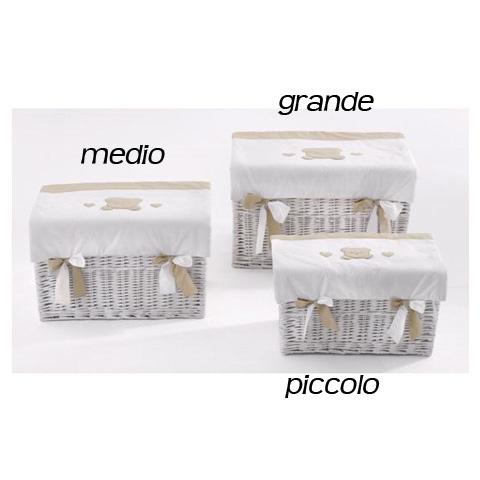 Altri moduli per arredo - Baule portagiochi in vimini  - Toffi - piccolo bianco [N1032] by Nanan