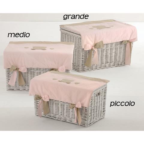 Altri moduli per arredo - Baule portagiochi in vimini  - Toffi - piccolo rosa [N1032] by Nanan