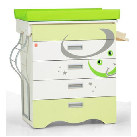 Cassettiere fasciatoio - Bagnetto Zodiaco Ariete con estrazione laterale avorio verde by NCR arredo baby